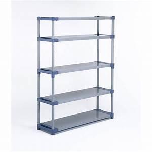 Etagère résine GROSFILLEX, 5 tablettes, gris / bleu l140xH175xP40 cm Leroy Merlin
