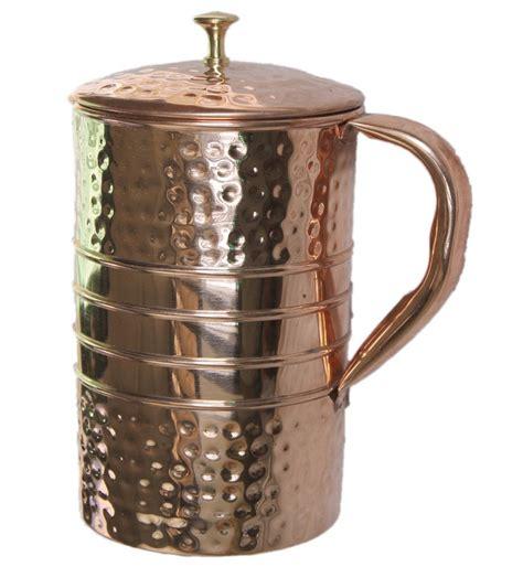 hammered copper water jug copper water pitcher  ayurveda health benefit parijathandicraft