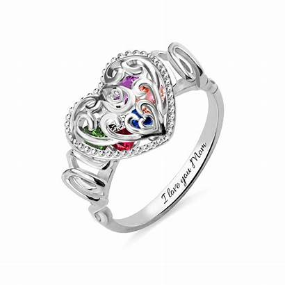 Mom Birthstones Heart Ring Cage Plated Anillo