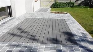 terrasse pierre bleue bois composite jardin pinterest With contour de piscine en pierre 1 terrasse bois composite dallage pierres