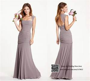 light brown cap sleeve open back long bridesmaid dress With wedding guest dresses 2015