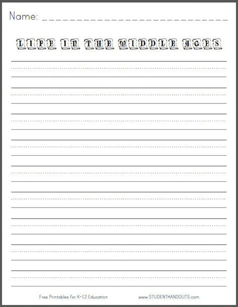 in the middle ages free printable k 3 writing