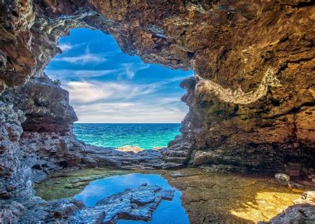 View from a Beach Cave - Beaches & Nature Background ...