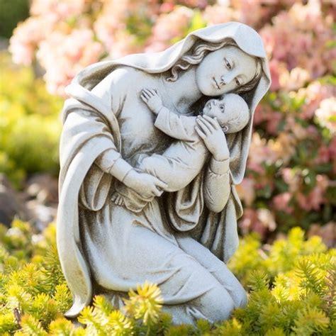 kneeling madonna child garden statue