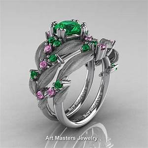 Nature classic 14k white gold 10 ct emerald light pink for Sapphire engagement ring and wedding band set