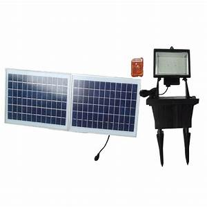 Remote controled solar powered flood light