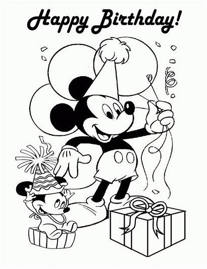 Coloring Birthday Minnie Happy Mouse Pages Mickey