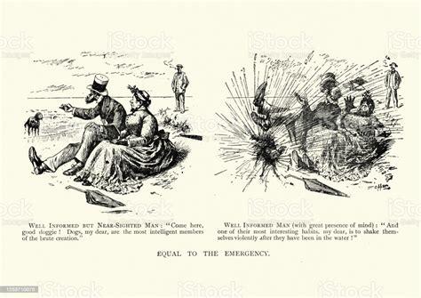 Dog Shaking Water Over People Victorian Humorous Cartoon