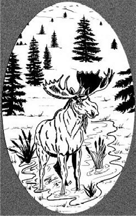moose scene etched glass vinyl window decal
