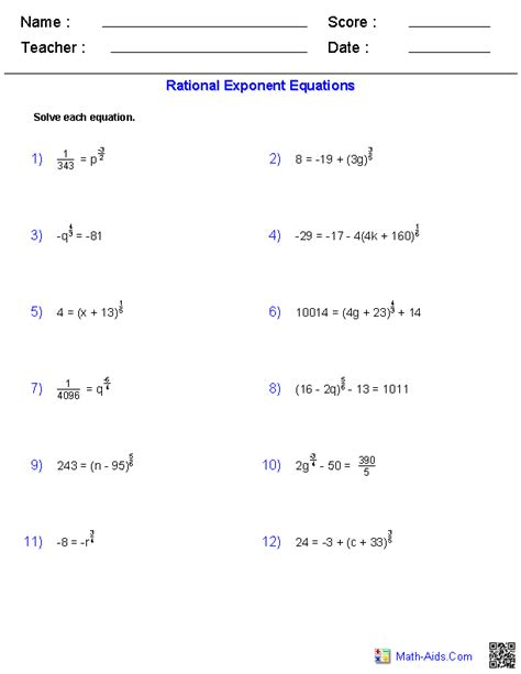 Rational Exponent Equations Worksheets  Mathaidscom  Pinterest  Equation, Worksheets And