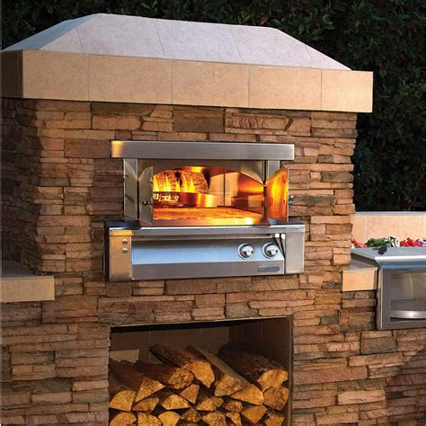 pizza oven outside alfresco 30 inch built in natural gas outdoor pizza oven axe pza bi ng bbq guys