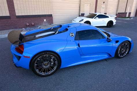 blue porsche spyder beautiful quot voodoo blue quot porsche 918 spyder for sale 95