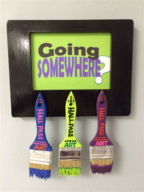diy paintbrush hall pass sign create art