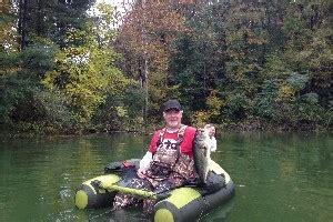 ohio belly boat fishing hocking hills huntingfishing