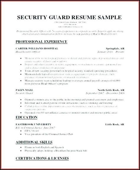 jobs  security guard job applications resume