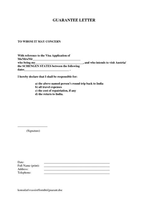 letter financial guarantee letter for visa sle
