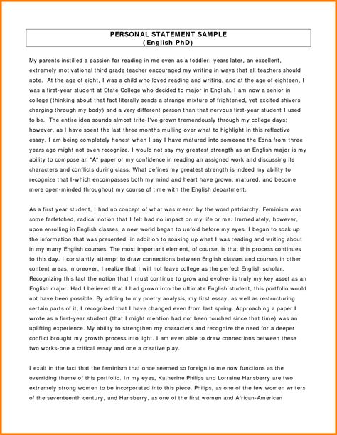 Personal Statement Template 7 Academic Personal Statement Exles Statement 2017