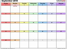 September 2019 Calendar Template – month printable calendar