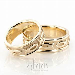 Hh hc100290 14k gold ichthus jesus fish motif christian for Wedding ring christian