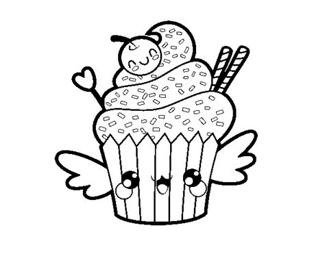 disegni kawaii da stare e colorare disegno di il cupcake kawaii da colorare acolore