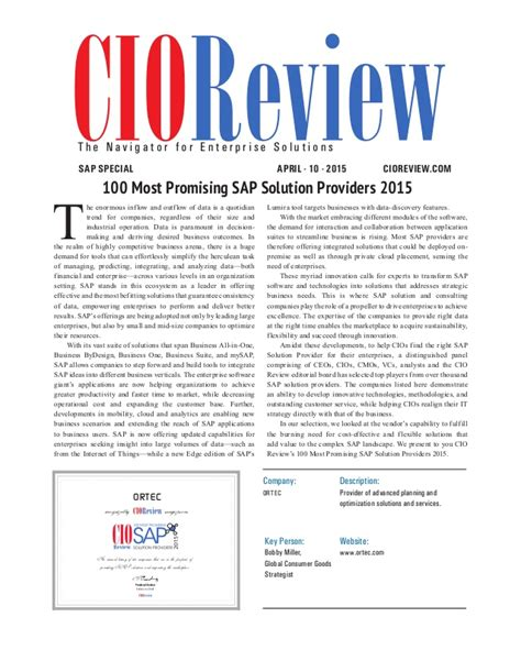 Cio Review 100 Most Promising Sap Solution Providers 2015