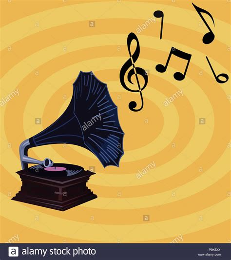 retro  background gramophone notes stock