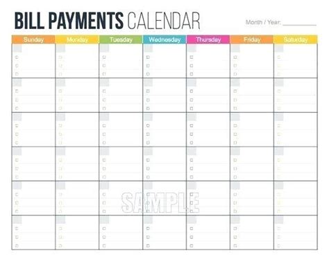 blank monthly calendar printable bill pay template