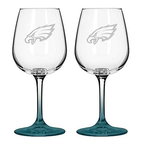 nfl philadelphia eagles satin etched wine glasses set