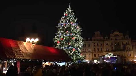 lighting of the christmas tree in prague 2014 youtube