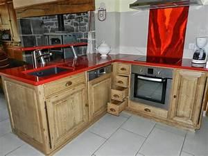 Cuisine équipée En Bois : cuisine rouge plan de travail bois ~ Edinachiropracticcenter.com Idées de Décoration