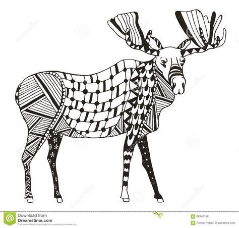 moose zentangle stylized vector illustration freehand pencil stock vector image