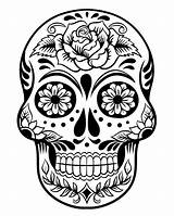 Sugar Coloring Skull Dead Printable Halloween sketch template