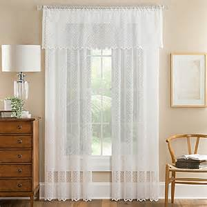 elsa lace sheer window valance in off white bed bath