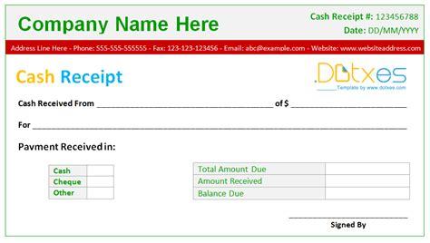 cash receipt template basic design dotxes
