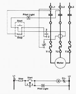 three wire control circuit with indicator lamp With ladder logic diagram and explain how it starts up the electric motor
