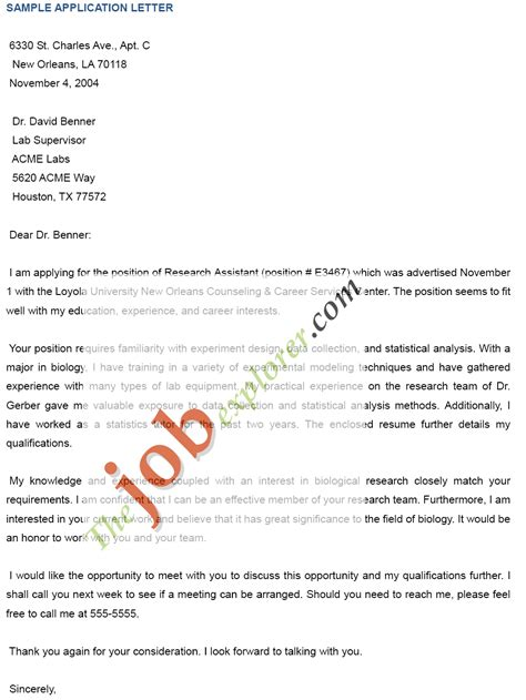 Exle Of Application Letter For by Free Application Letters