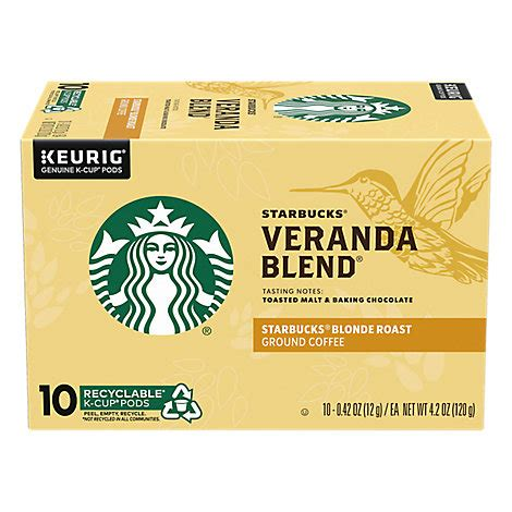 Learn more about our range of starbucks coffees. Starbucks Coffee K-Cup Pods Blonde Veranda Blend Box - 10-0.42 Oz - Pavilions