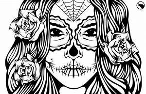 Sugar skull girl illustration coloring page ideas | skull ...