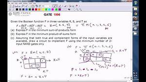 Gate 1996 Ece Minimize The Boolean Function And Realize