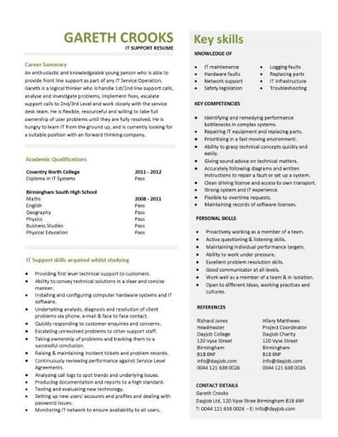 it support technician cv sle description cvs
