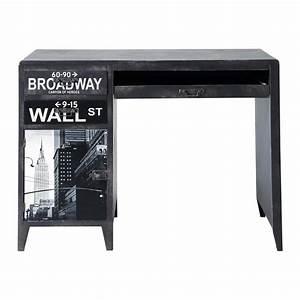Bureau New York : bureau indus imprim en bois noir l 110 cm wall street ~ Nature-et-papiers.com Idées de Décoration
