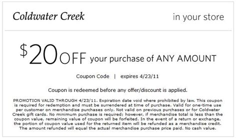19659 Coldwater Creek Free Shipping Coupon Code by Coldwater Creek Coupon Cleaning Product Coupons Free