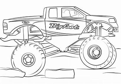Monster Truck Pages Easy Bigfoot Coloring