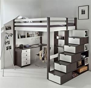 Lit Mezzanine Ado : lit mezzanine ado avec bureau et rangement recherche google d co chambre pinterest chic ~ Teatrodelosmanantiales.com Idées de Décoration