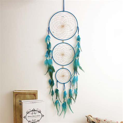 indian blue dream catcher net  feathers handmade
