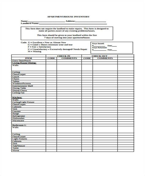 printable inventory templates  premium templates