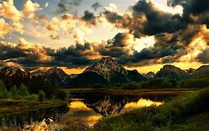 Mountain, Reflection, Beautiful, Beauty, Clouds, Colors, Golden