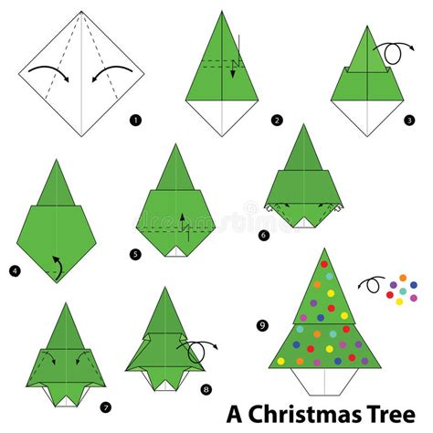 step by step christmas tree oragami wiki with pics step by step how to make origami a tree stock vector illustration of