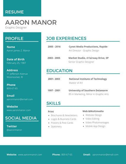 resume for graphic designers graphic designer resume templates by canva