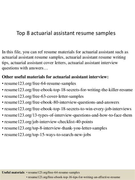 top  actuarial assistant resume samples